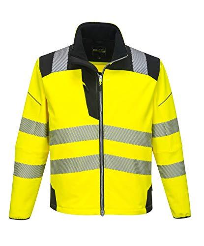 Portwest PW3 Hi-Vis Softshell Jacket Work Safety Protective Reflective Waterproof Coat ANSI 3, 4XL, yellowblack (T402YBR4XL)
