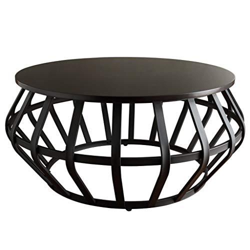 Table de Fer/Table à thé, Dessus de Table Ronde en Bois, Cadre en métal Robuste pour Salon à la Maison, hôtel, Noir