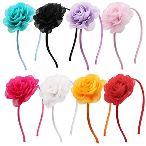 Candygirl Serre-Tête Floral Fille Enfant Lot de 8 Pièces Bandeaux de Fleurs Accessoire à Cheveux pour Quotidien Mariage Fête,8 Couleurs