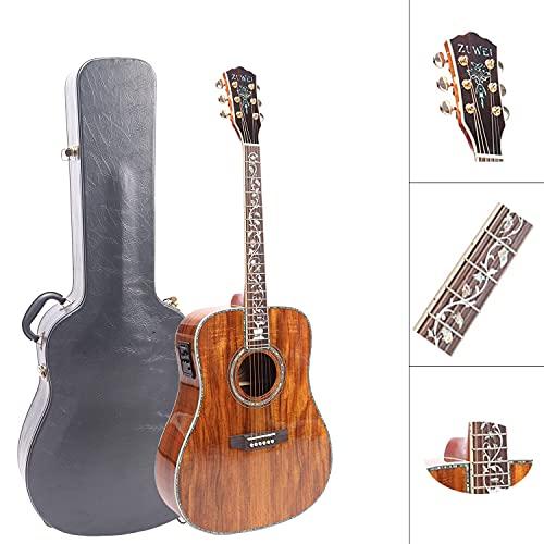 ZUWEI Acoustic-Electric Guitar Full KOA Top & Backside 41in Electrica Acustica Guitarra with Hard Case, Abalone Inlay, Grover Tuner, Bone Nut