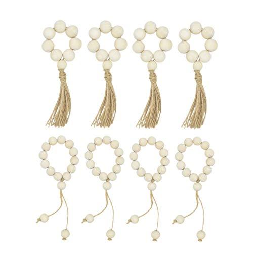 VOSAREA 8Pcs Holzperle Serviettenringe Natürliches Rustikales Bauernhaus mit Quasten Perlen Wandbehang Dekoration für Home Tisch Hochzeiten