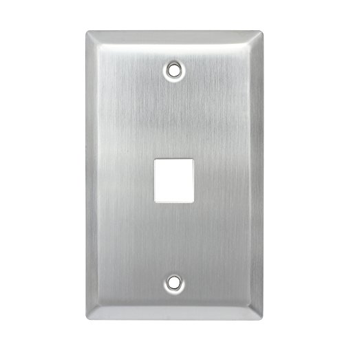 AllChinaFiber 1 Port Keystone Wall Plate QuickPort Wallplate Single Gang, Stainless Steel, silver