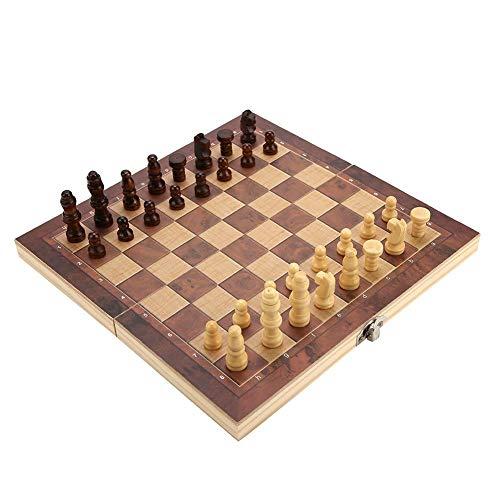 Alomejor1 International Chess Set 3 en 1 Travel International Chess Game Board Set Juego de ajedrez Plegable