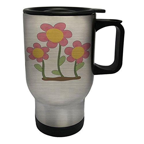 INNOGLEN Smile Blumen Glücklich Edelstahl Thermischer Reisebecher 14oz 400ml Becher Tasse p901ts