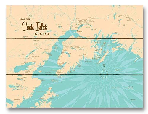 Cook Inlet Alaska Map Wood Art Print by Lakebound 9' x 12'