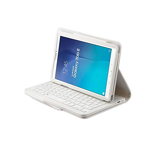Bluetooth Keyboard For Galaxy Tab E 9.6 Wireless Keyboard Case For Galaxy Tab E 9.6 T560 Tablet Flip Leather Cover +Pen-White