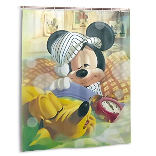 Mickey Cartoon Mouse Hogar Baño Bañera Cortina de ducha Impresión Impermeable Nuevo Gancho 60 x 72 pulgadas Plástico