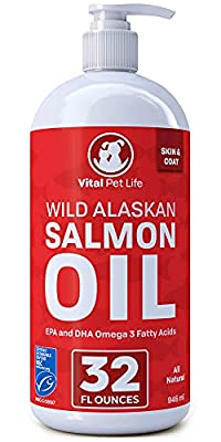 Salmon Oil for Dogs, Cats, and Horses, Fish Oil Omega 3 Food Supplement for Pets, Wild Alaskan 100% All Natural, Helps Dry Skin, Allergies, and Joints, Promotes Healthy Coat, Helps Inflammation, 32 oz
