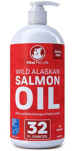 Salmon Oil for Dogs & Cats  Fish Oil Omega 3 EPA DHA Liquid Food Supplement for Pets  Wild Alaskan 100% All Natural  Supports Healthy Skin Coat & Joints  Natural Allergy & Inflammation Defense  32 oz