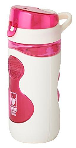 Thermo Rex Tritan Trinkflasche Fresh – 500ml – weiß/pink – aus BPA-freiem Kunststoff – nahezu bruchsicher und wiederverwendbar – auslaufsicher durch festschließenden Deckel