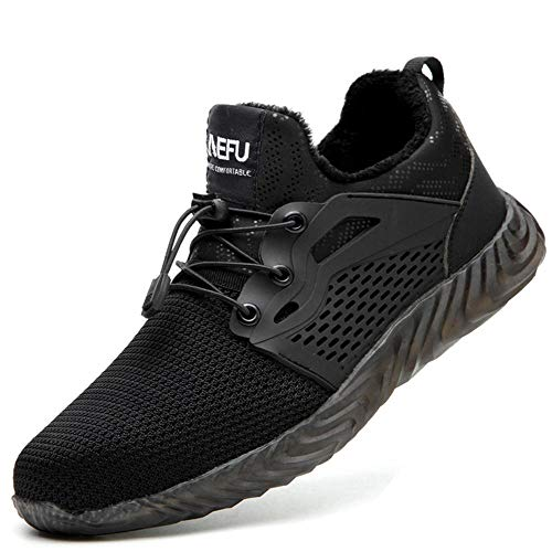 chenhe Safety Shoes for Men,Work safety shoes, light and breathable electrician insulated steel toe anti-smashing and anti-piercing safety shoes-Black plus velvet_9.5UK
