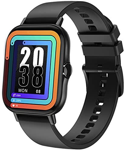 ANSUNG Smartwatch, Orologio Fitness Uomo Donna Activity Tracker, Bluetooth Chiamata, Cardiofrequenzimetro da Polso,Impermeabile IP68,Notifiche Messaggi per Android iOS(Nero)