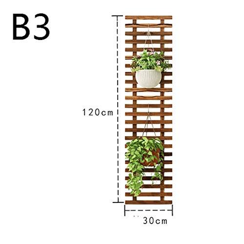 RJFlower stand Étagères d'angle Anti-corrosif en Bois Massif Fleurs Plateau Décoration Tenture Fleur Cadre Salon Décoration Rack Intérieur en Bois Clôture Mur Rack (Color : B, Size : 3)