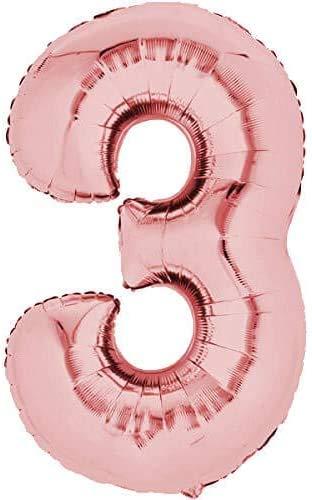 CEPEWA GmbH Folienballon, Zahl 3, 80cm Rosegold Zahlenballon, Luftballon, Geburtstag, Zahl für Helium und Luftfüllung geeignet (Zahl: 3)