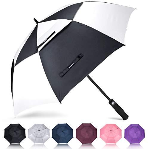 ZOMAKE Golf Regenschirm, Premium Qualität, 157cm Groß, Sturmsicher, Automatik - Automatisch zu öffnen, Regen- und Windresistent Golfschirme(Schwarz/Weiß)