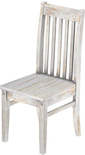 Brasilmöbel Holzstuhl Classico Shabby Brasil - Esszimmerstuhl Klassik Buche Massivholz Echtholz - Variante & Farbe wählbar - Stuhl Holz Wohnzimmerstuhl Lehnenstuhl Lehne Küchenstuhl
