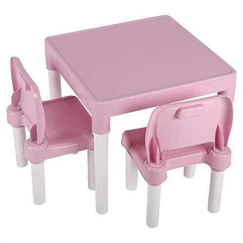 Tavolo per Bambini multifunzione Tavolino e Sedia Bambini in PP, Tavolino Gioco Bambino e 2 sedie, Mobili Soggiorno per pittura/Lettura/Gioco di Gruppo in Classe e Casa(Rosa)