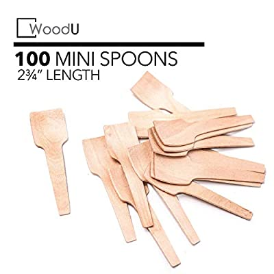 "Disposable Mini Wooden Spoons 3.5"", Eco-Friendly Biodegradable Compostable Birchwood, Taster Spoons, Ice Cream Spoons, Perfect For Dessert and Tasting (Pack of 100) GO GREEN!"