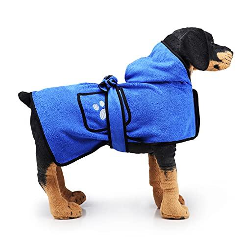 MILEEO Hundebademanteltuch mit Doppeltasche, Kapuze und Gürtel, Tragbares Haustierhandtuch Super saugfähiges, schnell trocknendes Haustier Bademantel Weiche Hundebademantel für mittelgroße Hunde (S)