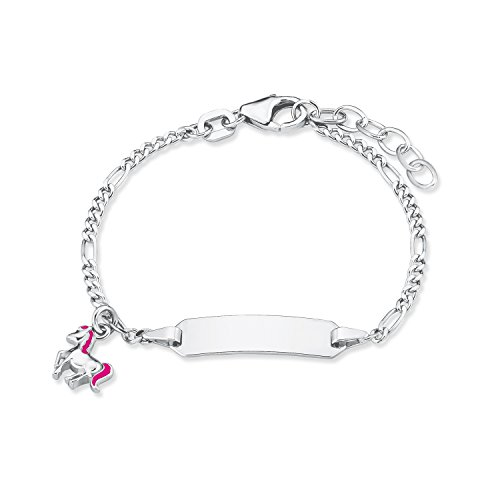 Prinzessin Lillifee Kinder-Armband Identarmband Mädchen 12+2 cm längenverstellbar gravierbar Pferd 925 Sterling Silber rhodiniert Emaille