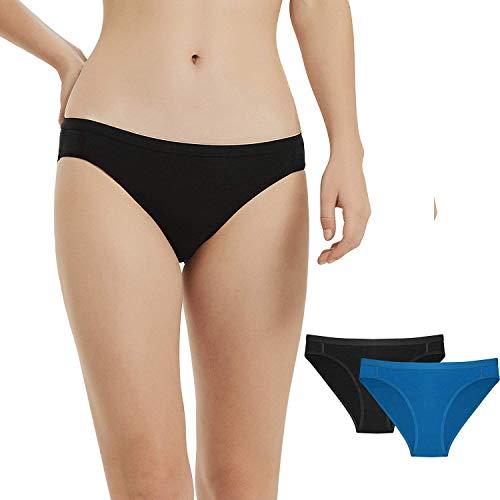 METARINO 2 Pack Women's Athletic Underwear Panties Soft Wool Sports Active Briefs,Small Black Blue