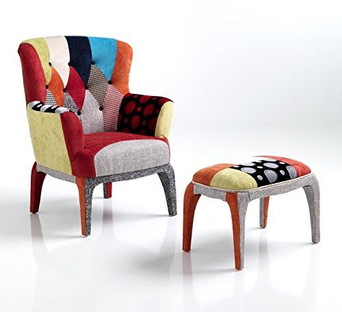 Wink Design, Kaleidos-E, Poltrona Con Pouf, Multicolore, 100 x 80 x 70 cm