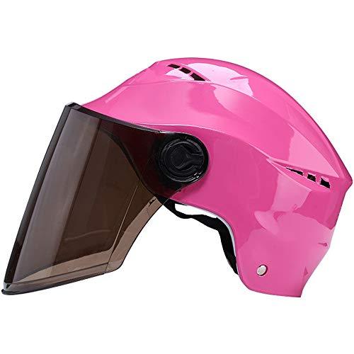 ZYW Casco di Sicurezza Esterno di Nuovo Modo di Harley Casco da Motociclista Casco del Motorino del Motociclo Unisex ABS Svago Design Unico Fronte Aperto Mezzo Casco Casco di Guida Anti-UV,Marrone