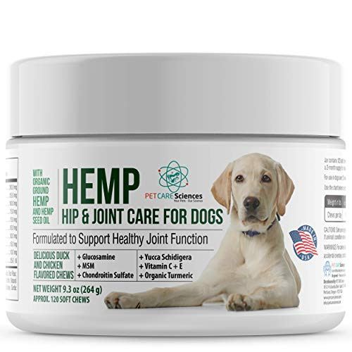 PET CARE Sciences Hemp for Dogs Hip and Joint Supplement, Also for Stress and Anxiety, Calming Chew with Turmeric, Glucosamine Chondroitin,MSM, Made in The USA,120 Tasty Chicken Flavor Soft Chews