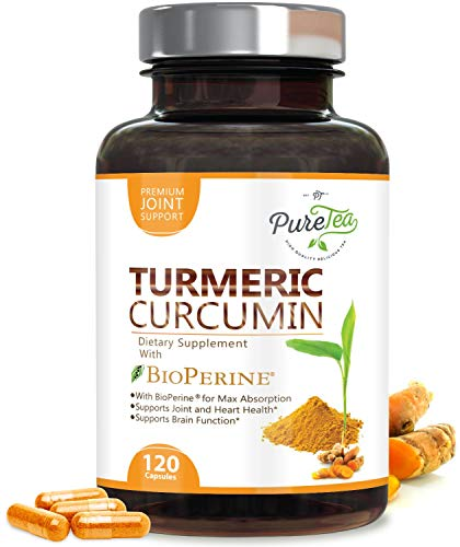 Turmeric Curcumin 95% High Potency Curcuminoids 1950mg with Bioperine Black Pepper for Best Absorption, Made in USA, Best Vegan Joint Support, Turmeric Pills by PureTea - 120 Capsules