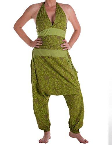 Vishes - Alternative Bekleidung - Damen Hippie Latzhose Overall Haremshose Neckholder aus Baumwolle mit Blümchen Olive-Hellgrün 40