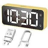 HERMIC Sveglia Digitale, Sveglia da Comodino LED con Adattatore, 2 Allarme, Snooze, 0-100% Luminosità e...