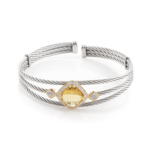 CHARRIOL Celtic Classique Stainless Steel Yellow Gold Plated Diamonds and Yellow Citrine Bangle Bracelet