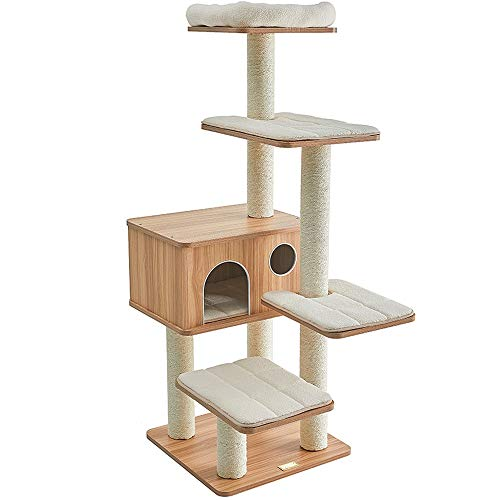 Pet Cat Tree Tiger Tough Cat Tree House Condominio Gancho, Mueble para Patio De Juegos para GatosTech, Varios Niveles, Seguro para Árbol De Gato con Postes De Rascado