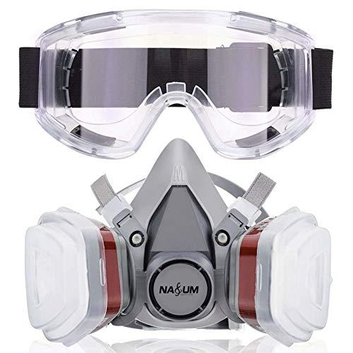 NASUM Halb Gesicht Abdeckung wiederverwendbare, Serie Grau M401, mit Schutzbrille, Filter*2, Baumwolle*4(Mitte)