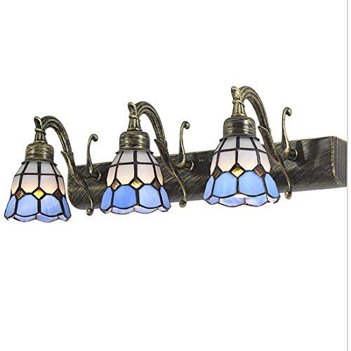 Tiffany Vendimia aplique de pared lámpara de espejo de baño vidrio vintage, Rústico LED E14 lámpara de baño antigua blanco azul, iluminación de espejo moderna para estudio barra pasillo cocina, L46cm