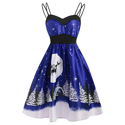 Transwen Weihnachtskleid, Damen Vintage O-Neck Printed Kurzarm A-Linie Swing Kleid Weihnachtsdeko Cocktailkleid Weihnachtsmann Festlich Kleid (5XL, Blau)