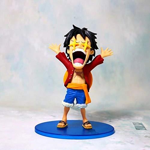 Romantic-Z Anime One Piece Star Eyes Funny Luffy Chopper Usopp Cute Figure Model Toys, Luffy Red