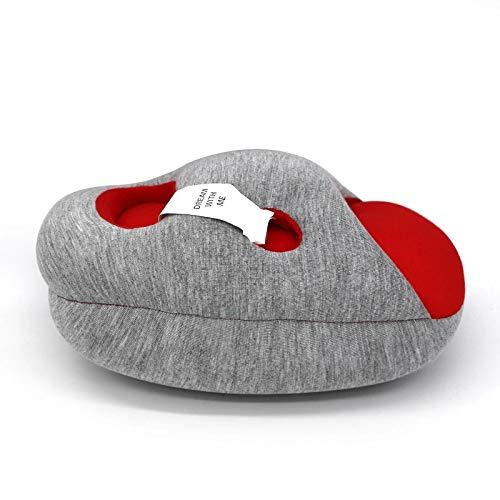 Draagbare reizen Noon Nap nekkussen Office Home Desk zachte kussen met Relax Hole Portable en lichtgewicht,Red