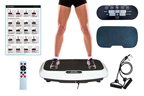 FitnessTech Vibrationsplatte Starke Vibrationstechnologie   Elegantes Design   Trainingsbänder   Fernbedienung   Übung Poster   Komfortmatte