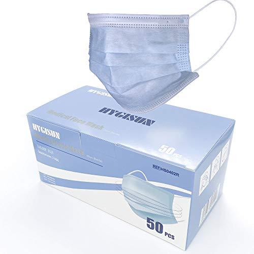 """Mund und Nasenschutz einweg - Test: """"SEHR GUT"""" - 50x medizinisch Mundschutz EN14683 TYP IIR mit 98% BFE - Gesichtsmaske - OP Masken mit Ohrschlaufen für Brillenträger"""