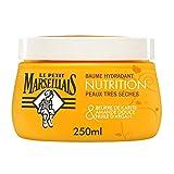 Le Petit Marseillais Baume Corps Hydratant, Nutrition, au Beurre de Karité, Amande et Huile d'Argan, Pour Peaux Très Sèches, 250ml