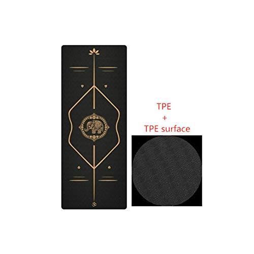 Xinrongqu TPE Yoga Mat 183 * 68CM, Fitness Yoga Mat Suede Antideslizante Pérdida De Peso Pilates Yoga Pad Gym Sports Camping Ejercicio Mat,F
