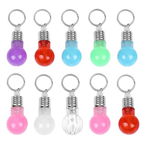 PRETYZOOM 21 llaveros con focos LED de colores para colgar (3 unidades cada uno transparente + rojo + azul + rosa + verde + blanco + morado) llavero suministros de regalo