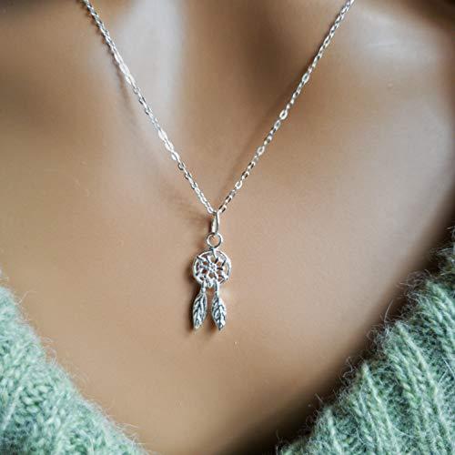 Sterling silver dainty little dreamcatcher charm 18 inch boho necklace
