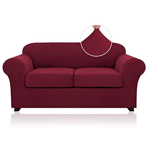 Copridivano elasticizzato per 2 cuscini per divano e divano in 3 pezzi (fodera di base più 2 federe per cuscini) con tessuto jacquard più spesso (color bordeaux)