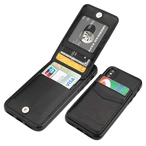 KIHUWEY iPhone X iPhone Xs Case Wallet with Credit Card Holder, Premium Leather Magnetic Clasp Kickstand Heavy Duty Protective Cover for iPhone Xs/X 5.8 Inch(Black)