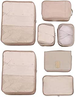 Beige Travel Packing Cubes 7 Set, Compression Travel Luggage Organizer-Luggage Organizers with Toiletry Kit Shoe Bag -H