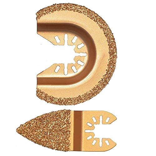 Sanfiyya Oscilante Multi Herramienta de Diamante Segmento oscilación Grout carburo multifunción para el Pulido de Cemento Molienda de Granos de Oro 2 Piezas de Equipos de Trabajo