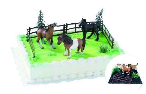 Cake Company Tortendeko zum Geburtstag und Kindergeburtstag | Cake Company Tortendekoration Pferde - Tortendekoration für Geburtstage und Pferliebhaber. 3 schöne und hochwerte Pferde - PVC frei | Kuchen und Torten schnell und einfach dekoriert