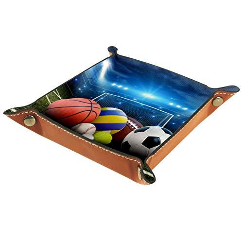 LynnsGraceland Tablett Leder,Alle Sportbälle im Stadion,Leder Münzen Tablettschlüssel für Schmuck,Telefon,Uhren,Süßigkeiten,Catchall-Tablett für Männer & Frauen Großes Geschenk